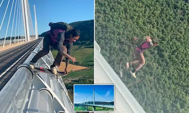 Thót tim xem khoảnh khắc người đàn ông trượt ván từ cây cầu cao 274 mét
