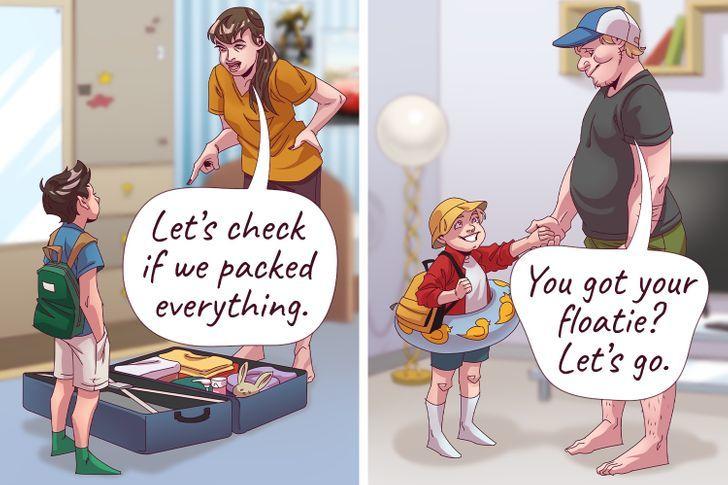 8 tình huống chứng tỏ sự khác nhau trong cách nuôi dạy con giữa bố và mẹ