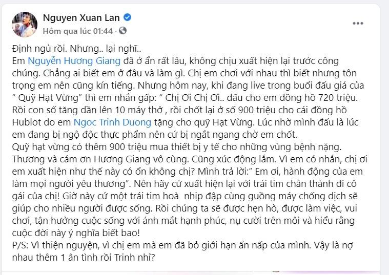 Hương Giang,máy thở,BTV Ngọc Trinh
