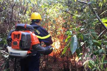 Nghệ An: Cảnh sát căng mình dập lửa, cứu rừng giữa trưa nắng gắt