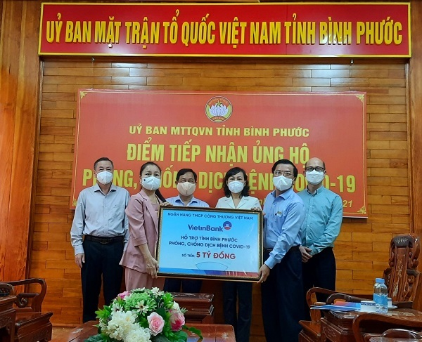 VietinBank ủng hộ 5 tỷ đồng cho Bình Phước phòng, chống dịch