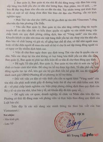 Chủ tịch phường Cầu Diễn yêu cầu phát phiếu đi chợ cho 100% hộ dân chung cư Vinaconex 7