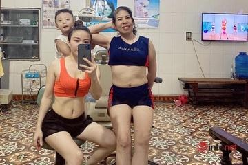 """Nàng dâu khoe mẹ chồng """"xì tin"""" cùng tập gym tại gia để nâng cao sức khỏe"""