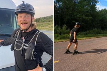 Trượt patin gần 10.000 km, xuyên qua một đất nước, người đàn ông lập kỷ lục thế giới