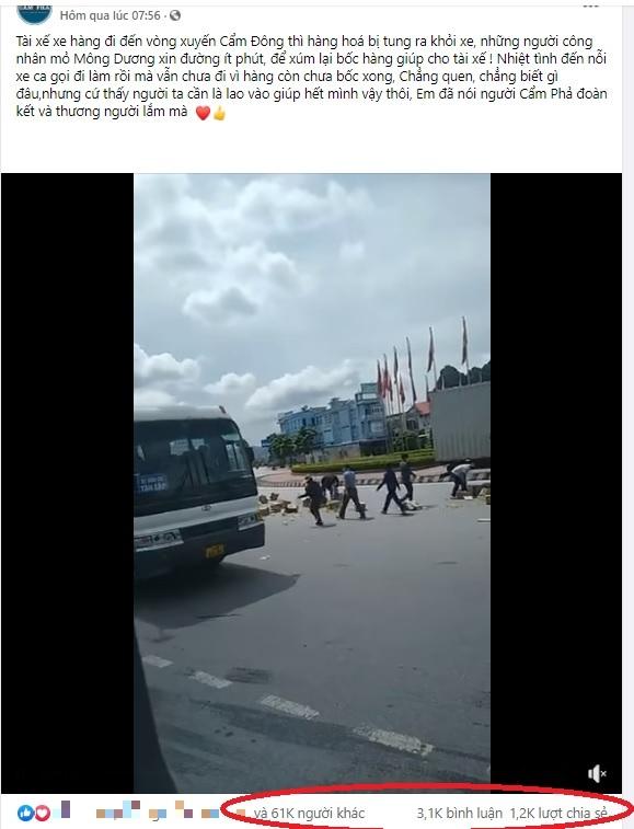 Hàng trên xe tải đổ tràn ra đường, hành động của công nhân mỏ khiến dân mạng nức lòng