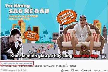 """""""Tôi không sao kê đâu"""" của Duy Mạnh lọt top 4 thịnh hành của Youtube Việt Nam, hơn 775.000 lượt xem"""