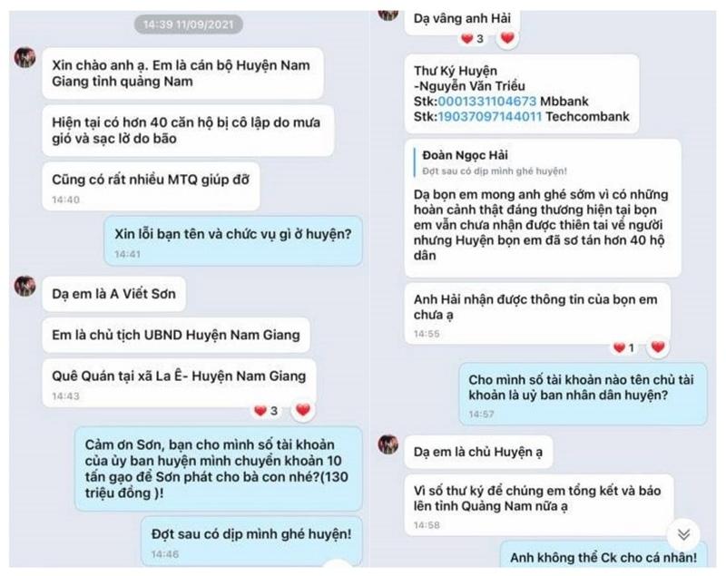 Quảng Nam: Mạo danh Chủ tịch huyện nhắn xin ông Đoàn Ngọc Hải 10 tấn gạo cứu trợ