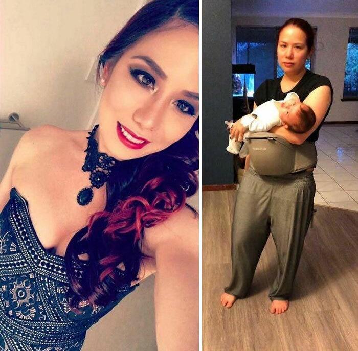 Hình ảnh trước và sau khi có con khác 'một trời một vực' của bố mẹ trẻ