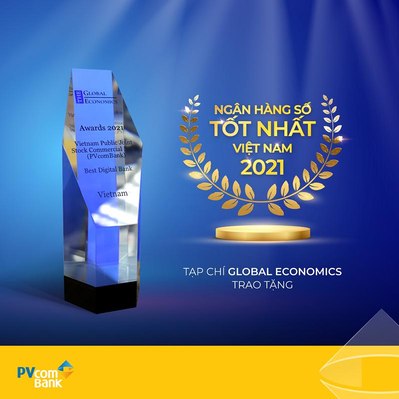 Tạp chí Global Ecomonics vinh danh PVcomBank là Ngân hàng số tốt nhất Việt Nam 2021