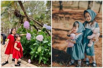 Mẹ đảm Quảng Ninh tự tay may cả bộ sưu tập váy 'cưng xỉu' cho hai con gái