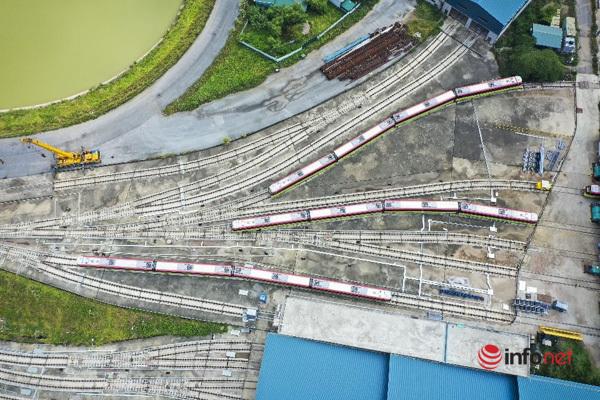 Toàn cảnh 10 đoàn tàu metro 'hội tụ' tại ga Nhổn chuẩn bị được chạy thử nghiệm