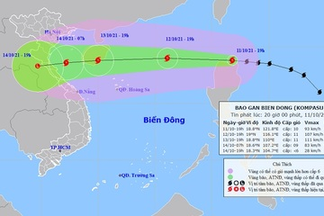 Bão Kompasu vào Biển Đông trong đêm nay, gió giật cấp 12 và còn mạnh thêm