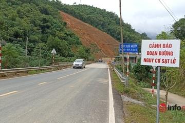 Lo ngại mất an toàn giao thông trên QL 15A do vết nứt kéo dài 100m dọc sườn núi
