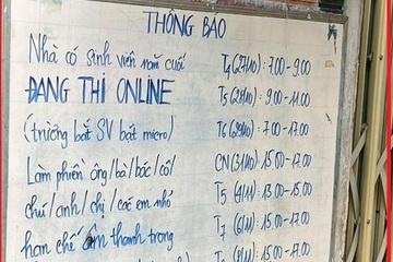 Bi hài tấm bảng thông báo giờ học online của con khiến cả xóm dè chừng!